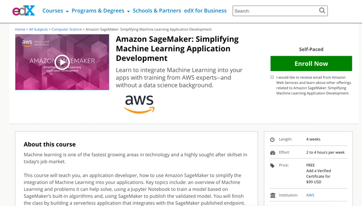 A How To Course on edX About Amazon SageMaker and Machine