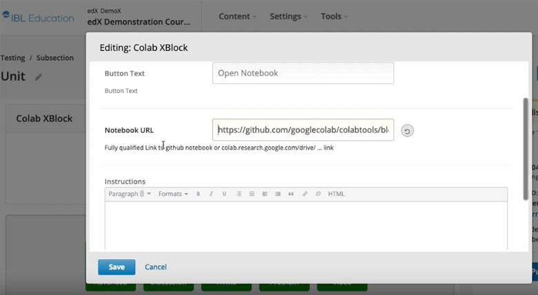 Jupyter Cloud XBlock for Open edX via Google Colab | IBL News
