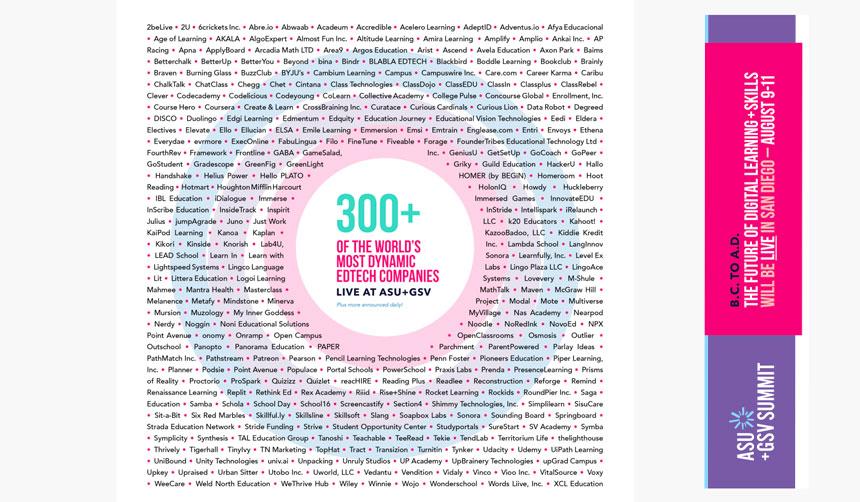 ASU-GSV publica la lista de las 300 empresas de tecnología educativa más dinámicas del mundo
