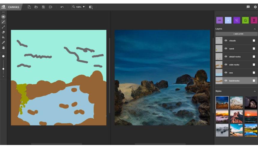 La aplicación NVIDIA basada en IA convierte bocetos en escenas de paisajes realistas