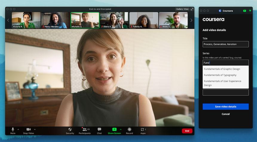 La aplicación de Coursera para Zoom permite a los instructores integrar reuniones en vivo en sus cursos